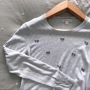 Merona | Beaded Grey Crew Neck Sweater